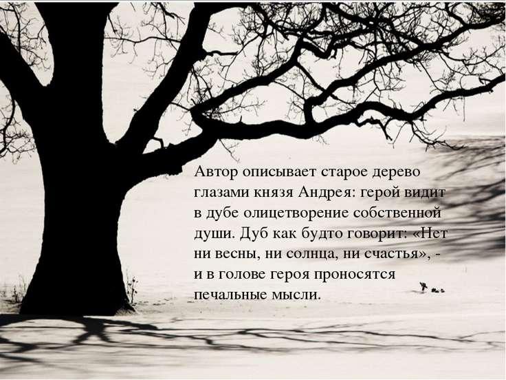 Автор описывает старое дерево глазами князя Андрея: герой видит в дубе олицет...