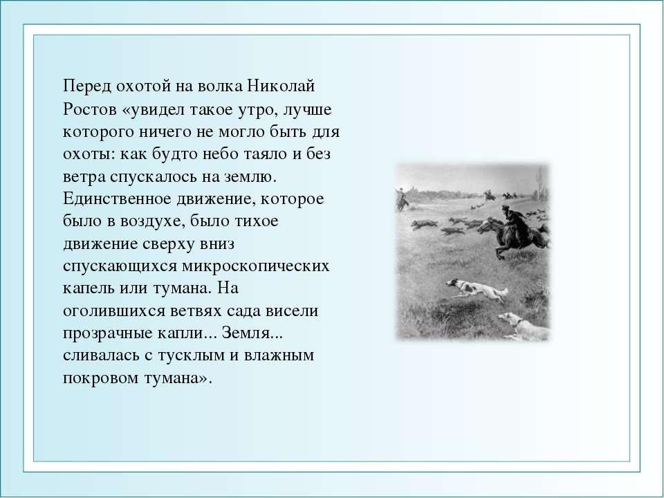 Перед охотой на волка Николай Ростов «увидел такое утро, лучше которого ничег...