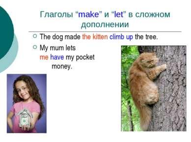 """Глаголы """"make"""" и """"let"""" в сложном дополнении The dog made the kitten climb up ..."""