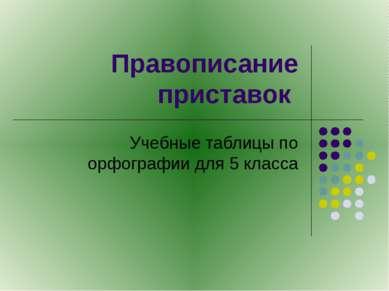 Правописание приставок Учебные таблицы по орфографии для 5 класса