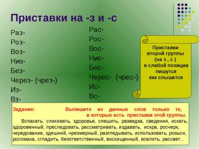 Приставки на -з и -с Раз- Роз- Воз- Низ- Без- Через- (чрез-) Из- Вз- Рас- Рос...