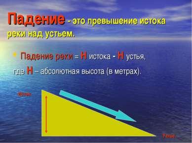 Падение - это превышение истока реки над устьем. Падение реки = Н истока - Н ...