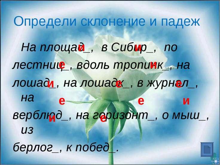 Определи склонение и падеж На площад_, в Сибир_, по лестниц_, вдоль тропинк_,...