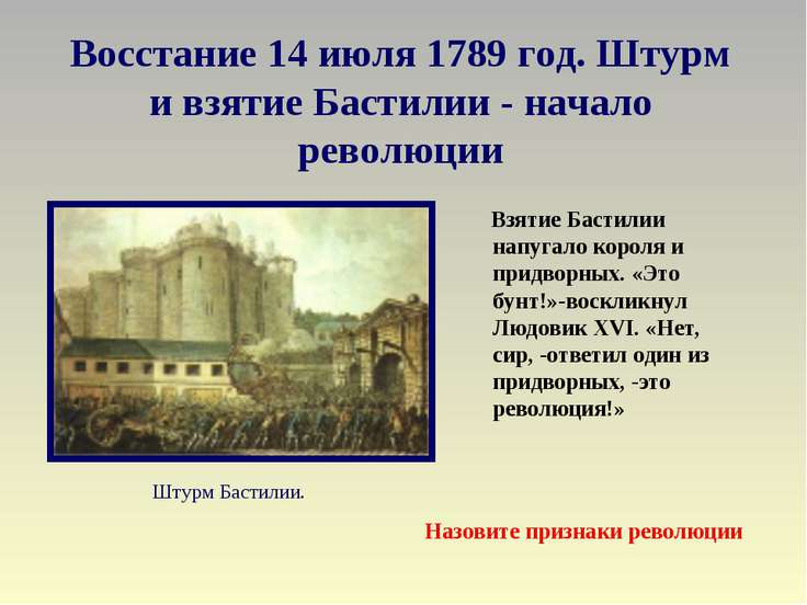 Восстание 14 июля 1789 год. Штурм и взятие Бастилии - начало революции Взятие...
