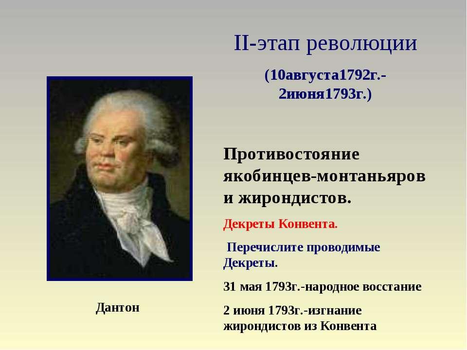 II-этап революции (10августа1792г.- 2июня1793г.) Противостояние якобинцев-мон...