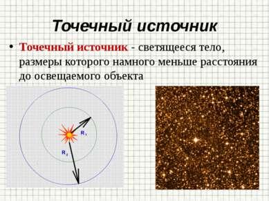 Точечный источник Точечный источник - светящееся тело, размеры которого намно...