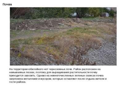 Почва На территории юбилейного нет черноземных почв. Район расположен на намы...