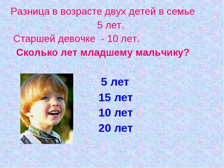 Разница в возрасте двух детей в семье 5 лет. Старшей девочке - 10 лет. Скольк...