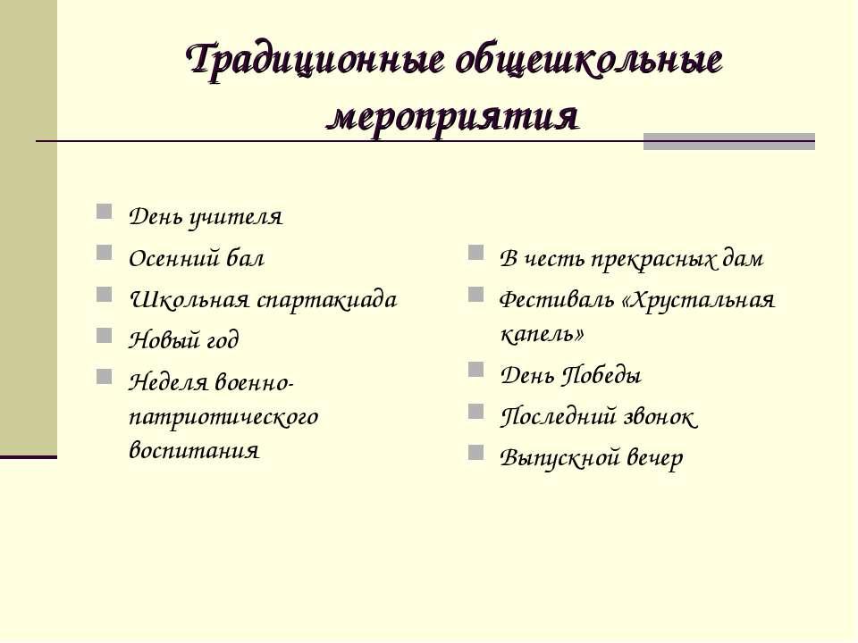 Традиционные общешкольные мероприятия День учителя Осенний бал Школьная спарт...