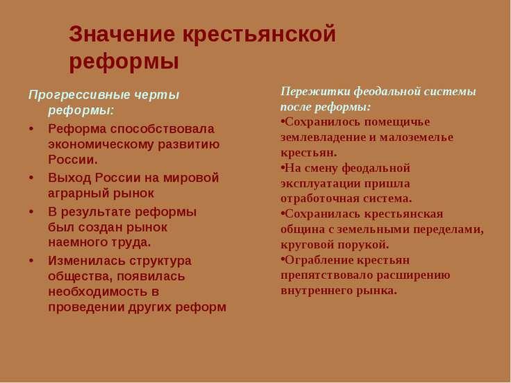 Значение крестьянской реформы Прогрессивные черты реформы: Реформа способство...