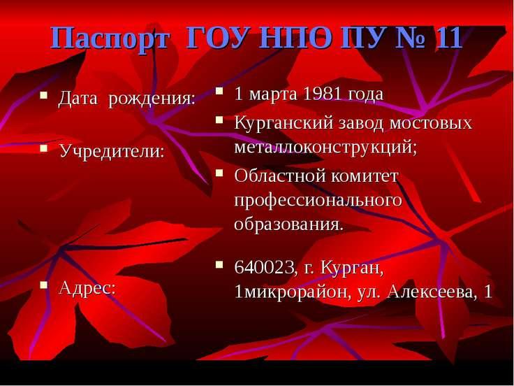 Паспорт ГОУ НПО ПУ № 11 Дата рождения: Учредители: Адрес: 1 марта 1981 года К...