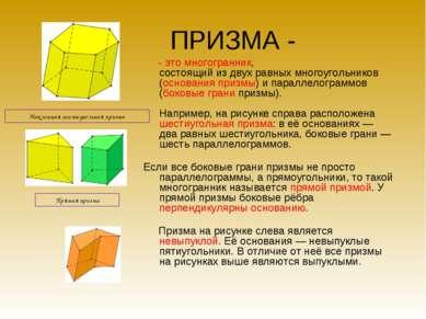ПРИЗМА - - это многогранник, состоящий из двух равных многоугольников (основа...