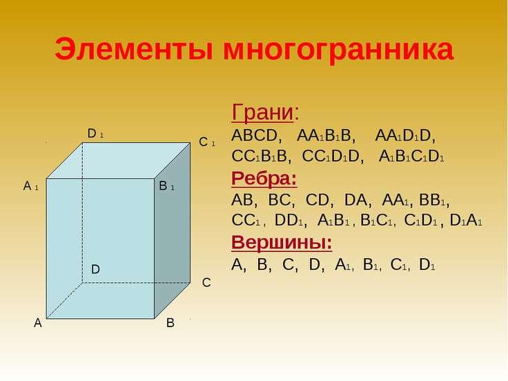Элементы многогранника Грани: АBСD, АА1В1В, АА1D1D, СС1В1В, СС1D1D, А1В1С1D1 ...