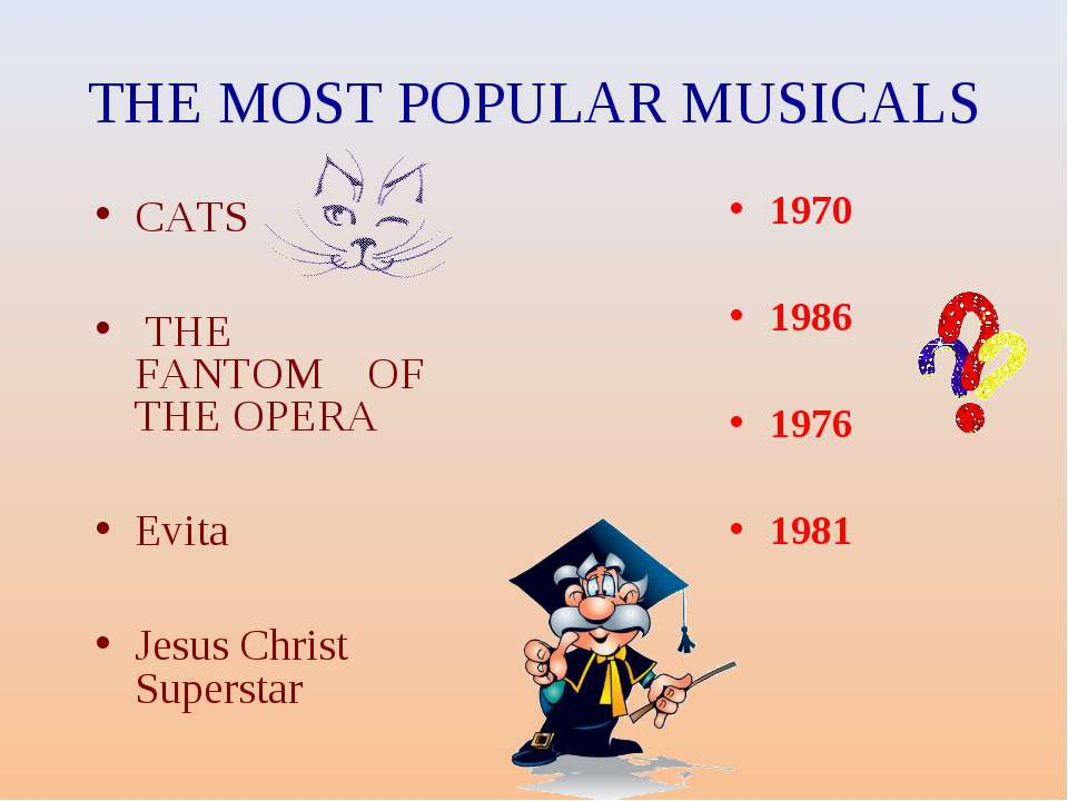 THE MOST POPULAR MUSICALS CATS THE FANTOM OF THE OPERA Evita Jesus Christ Sup...