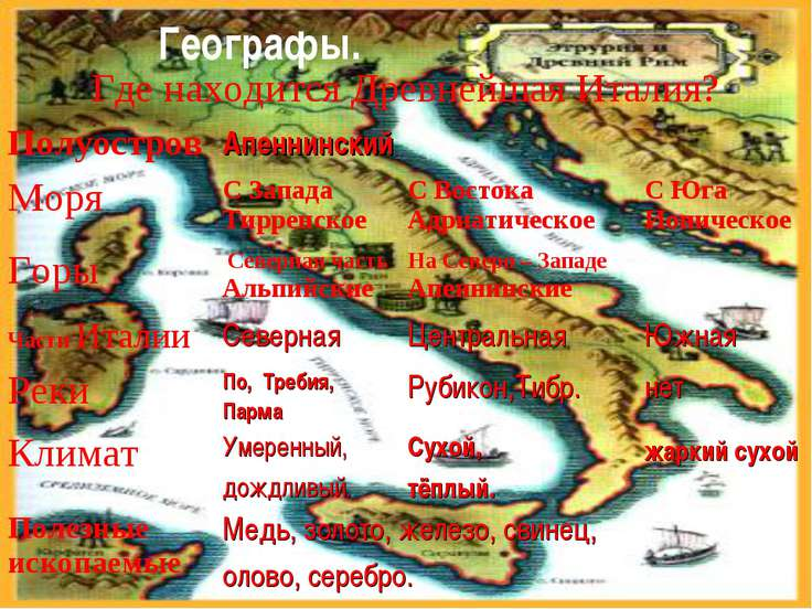 Географы. Где находится Древнейшая Италия? Полуостров Апеннинский Моря С Запа...