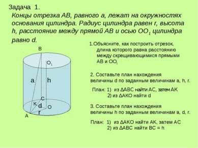 Концы отрезка АВ, равного а, лежат на окружностях основания цилиндра. Радиус ...