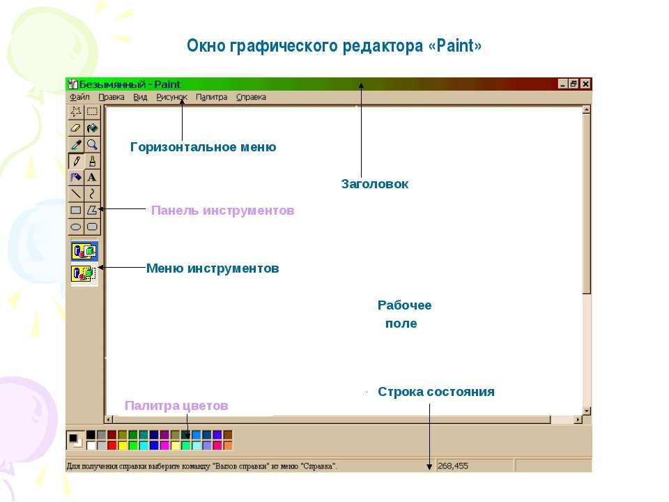 Горизонтальное меню Заголовок Панель инструментов Меню инструментов Рабочее п...