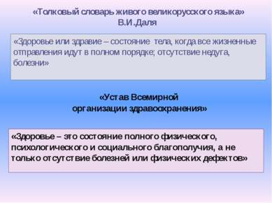 «Толковый словарь живого великорусского языка» В.И.Даля «Здоровье или здравие...