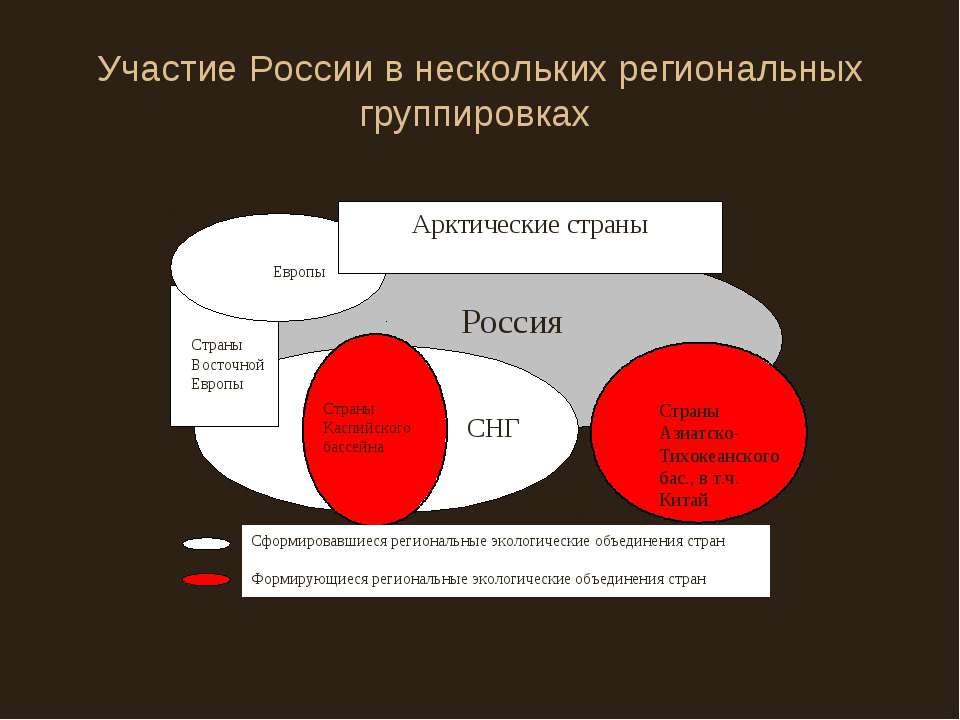 Участие России в нескольких региональных группировках
