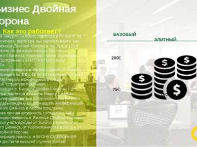 Бизнес Двойная корона 15 200 € за каждого Базового партнера и по 450 € за каж...