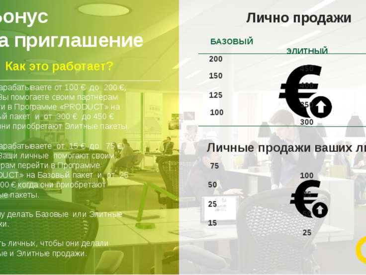 Бонус за приглашение 11 Вы зарабатываете от 100 € до 200 €, когда Вы помогает...