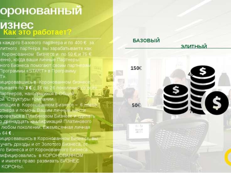 Коронованный бизнес 14 150 € за каждого Базового партнера и по 400 € за каждо...