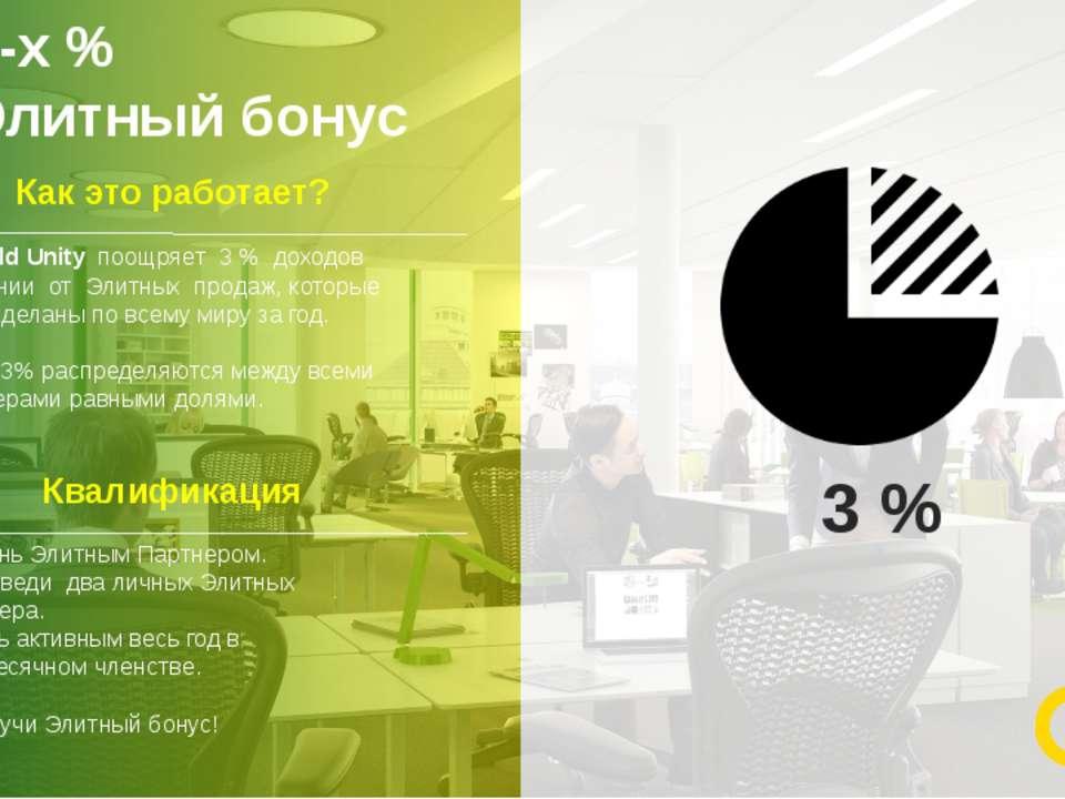 3-х % Элитный бонус 18 World Unity поощряет 3 % доходов Компании от Элитных п...