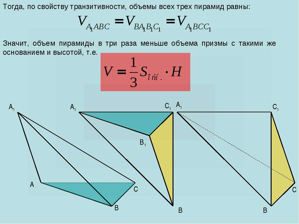 A C B1 A1 C1 C A1 B B A1 C1 B Тогда, по свойству транзитивности, объемы всех ...