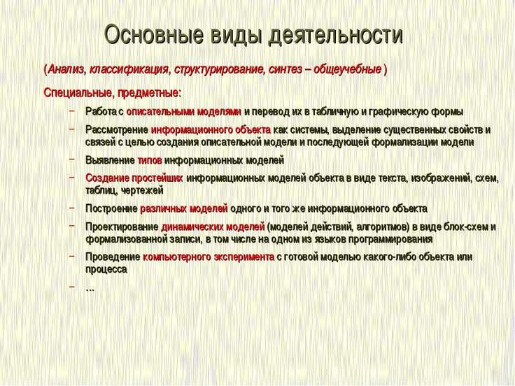 Основные виды деятельности (Анализ, классификация, структурирование, синтез –...
