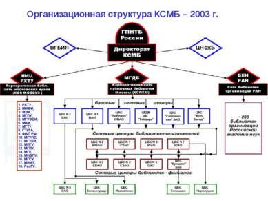 Организационная структура КСМБ – 2003 г.