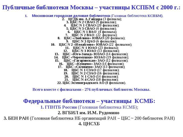 Публичные библиотеки Москвы – участницы КСПБМ с 2000 г.:  1. Московская го...
