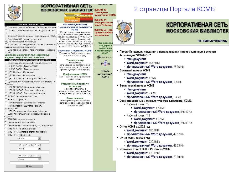2 страницы Портала КСМБ