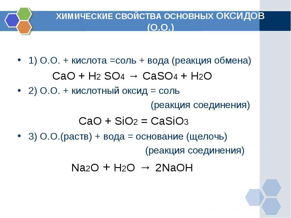 ХИМИЧЕСКИЕ СВОЙСТВА ОСНОВНЫХ ОКСИДОВ (О.О.) 1) О.О. + кислота =соль + вода (р...