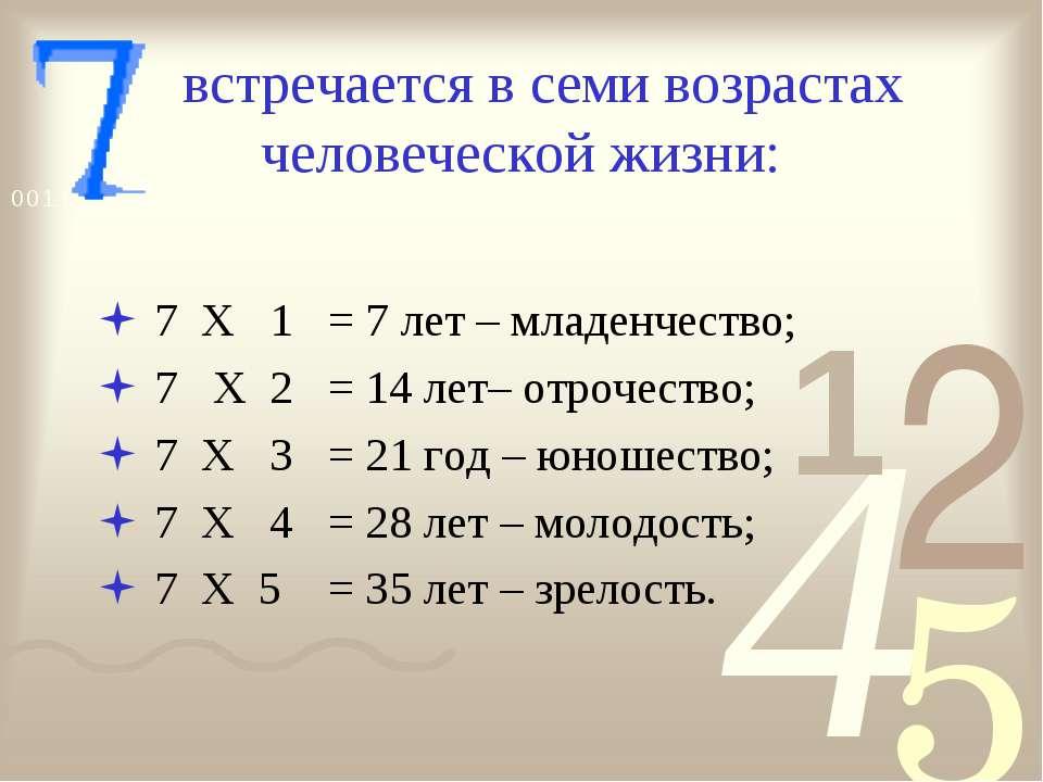 встречается в семи возрастах человеческой жизни: 7 Х 1 = 7 лет – младенчество...