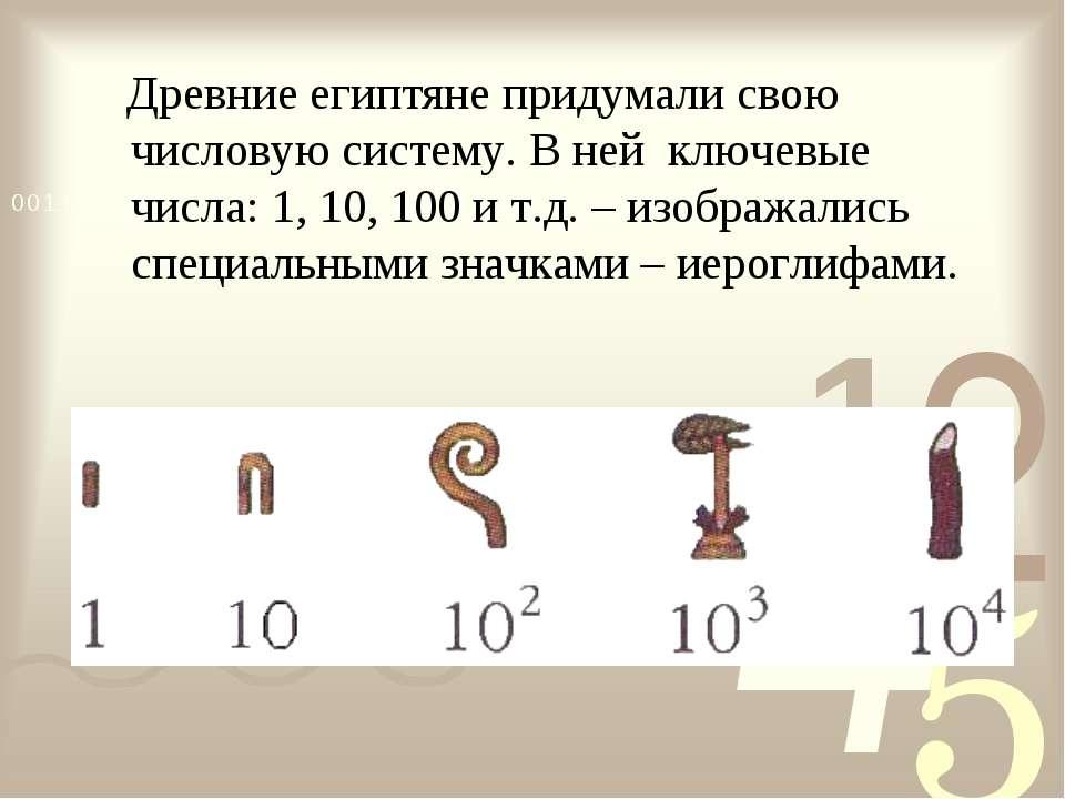 Древние египтяне придумали свою числовую систему. В ней ключевые числа: 1, 10...