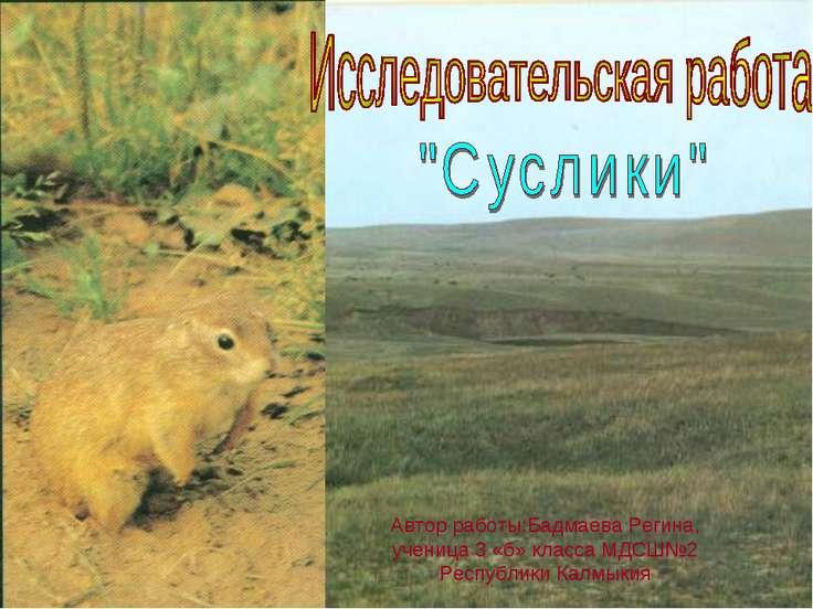 Автор работы:Бадмаева Регина, ученица 3 «б» класса МДСШ№2 Республики Калмыкия