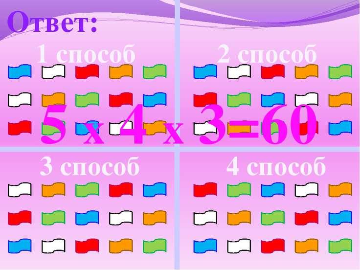 Ответ: 1 способ 2 способ 3 способ 4 способ 5 х 4 х 3=60