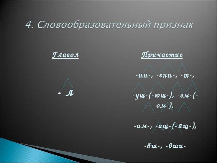 Глагол - л Причастие -нн-, -енн-, -т-, -ущ-(-ющ-), -ем-(-ом-), -им-, -ащ-(-ящ...