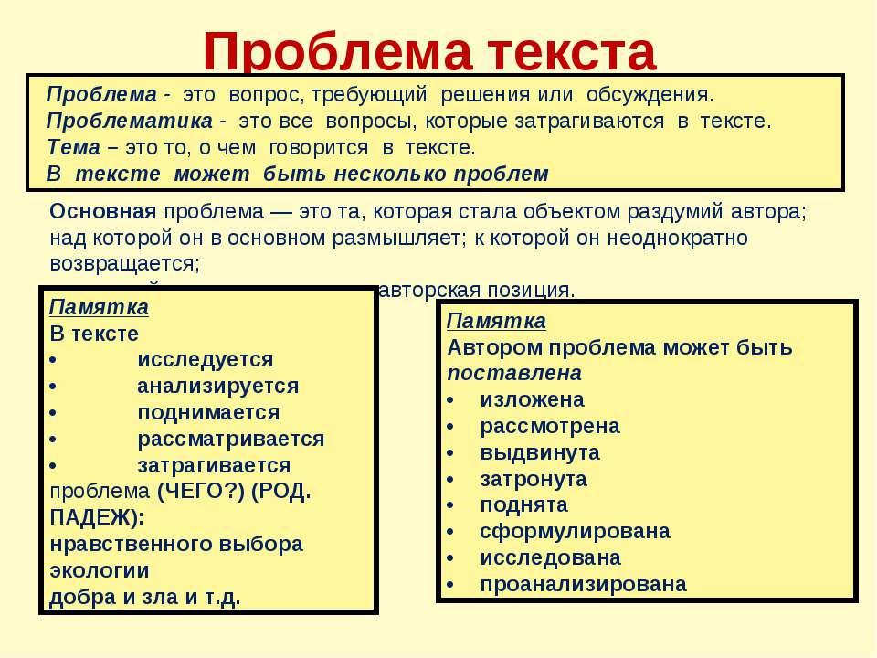 Проблема текста Основная проблема — это та, которая стала объектом раздумий а...