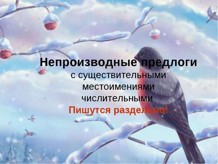 Непроизводные предлоги с существительными местоимениями числительными Пишутся...