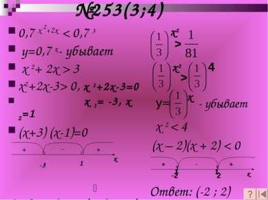 №253(3;4) -3 1 х2 > х2 > 4 y= х - убывает x 2 < 4 (х – 2)(х + 2) < 0 0,7 х 2+...