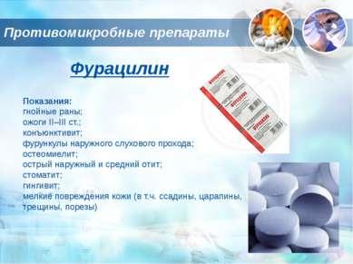 Противомикробные препараты Фурацилин Показания: гнойные раны; ожоги II–III ст...