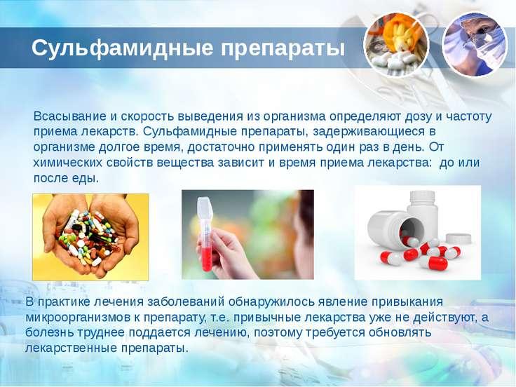 Сульфамидные препараты Всасывание и скорость выведения из организма определяю...