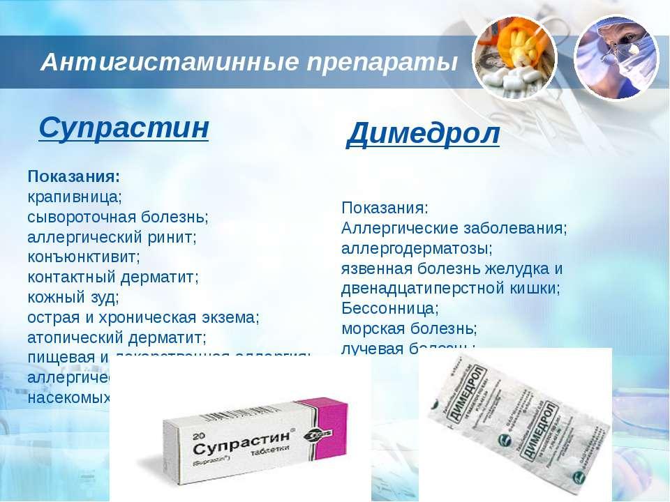 Антигистаминные препараты Показания: крапивница; сывороточная болезнь; аллерг...
