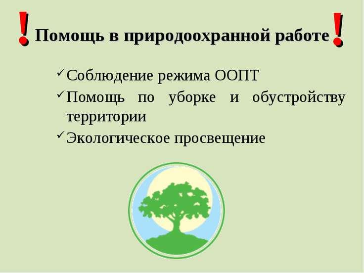 Помощь в природоохранной работе Соблюдение режима ООПТ Помощь по уборке и обу...