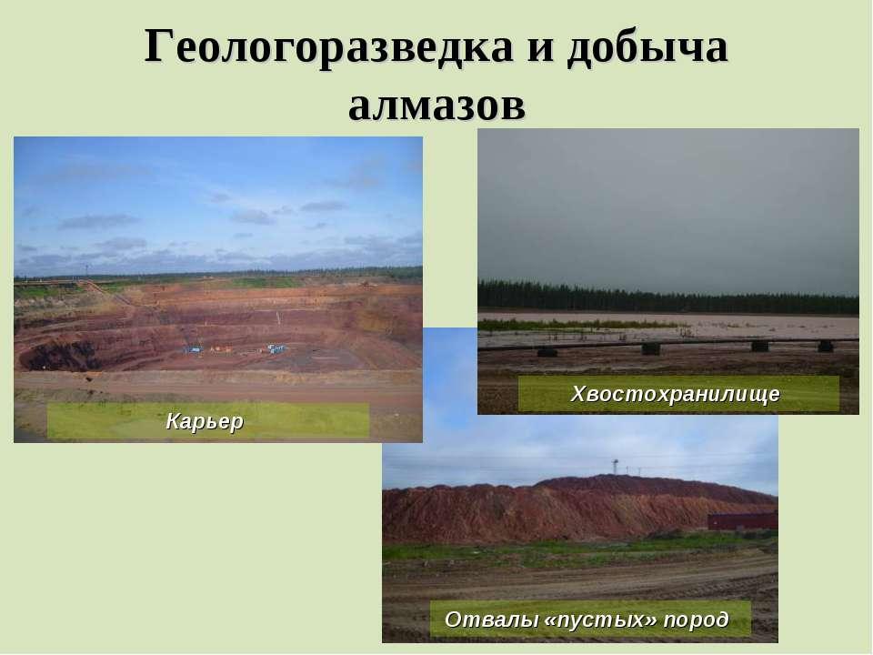 Геологоразведка и добыча алмазов Карьер Хвостохранилище Отвалы «пустых» пород