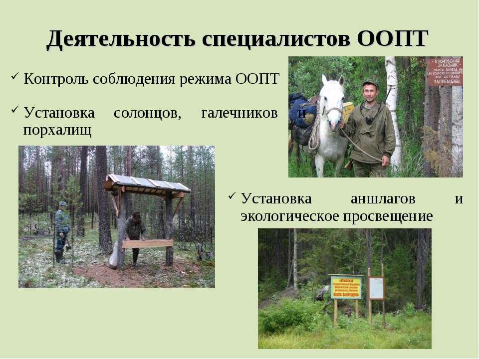 Деятельность специалистов ООПТ Контроль соблюдения режима ООПТ Установка соло...
