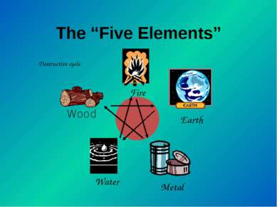 "The ""Five Elements"" Destructive cycle Wood Water Metal Earth Fire"