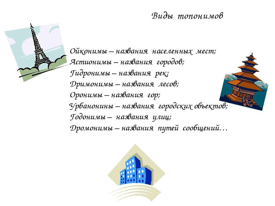 Ойконимы – названия населенных мест; Астионимы – названия городов; Гидронимы ...