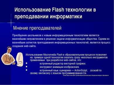 Использование Flash технологии в преподавании информатики Приобщение школьник...